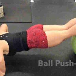 Plyo Ball Push Up feet on ball hands on floor