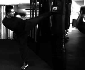 Round house Kick on Heavy bag