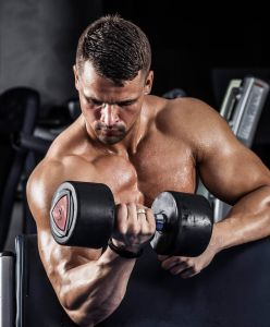 Las Vegas Personal Trainer Performing Seated Bicep Curl photo