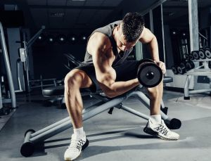 Seated Bicep curl using one leg to brace the arm