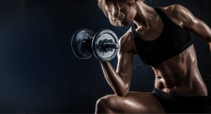 Bicep Curl performed by fitness girl