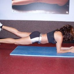 Plank single left leg up in air