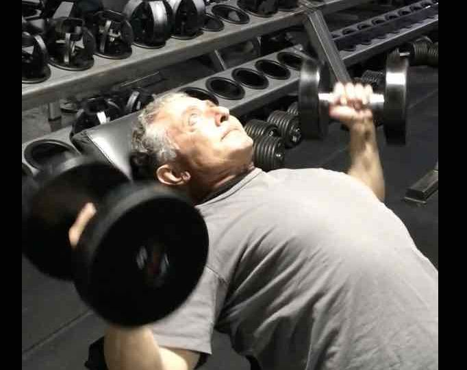 Chest Press Exercise on incline bench pressing dumbbells up