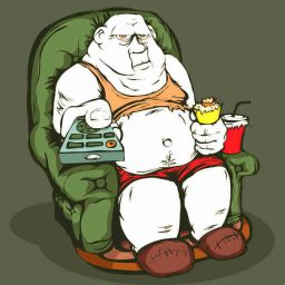 cartoon image of fat person eating ice cream on a chair at home