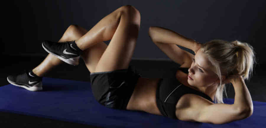 Crunch Exercise Female Fitness Model
