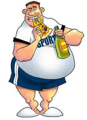 image of fat cartoon character eating pizza with a shirt that says sports on it