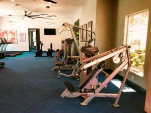 apartment gym with pin loaded weight machines