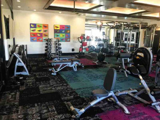 image of dumbbell racks benches and cardio equipment