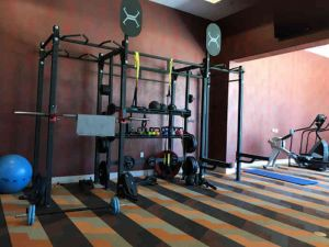 apartment gym with power lifting rack