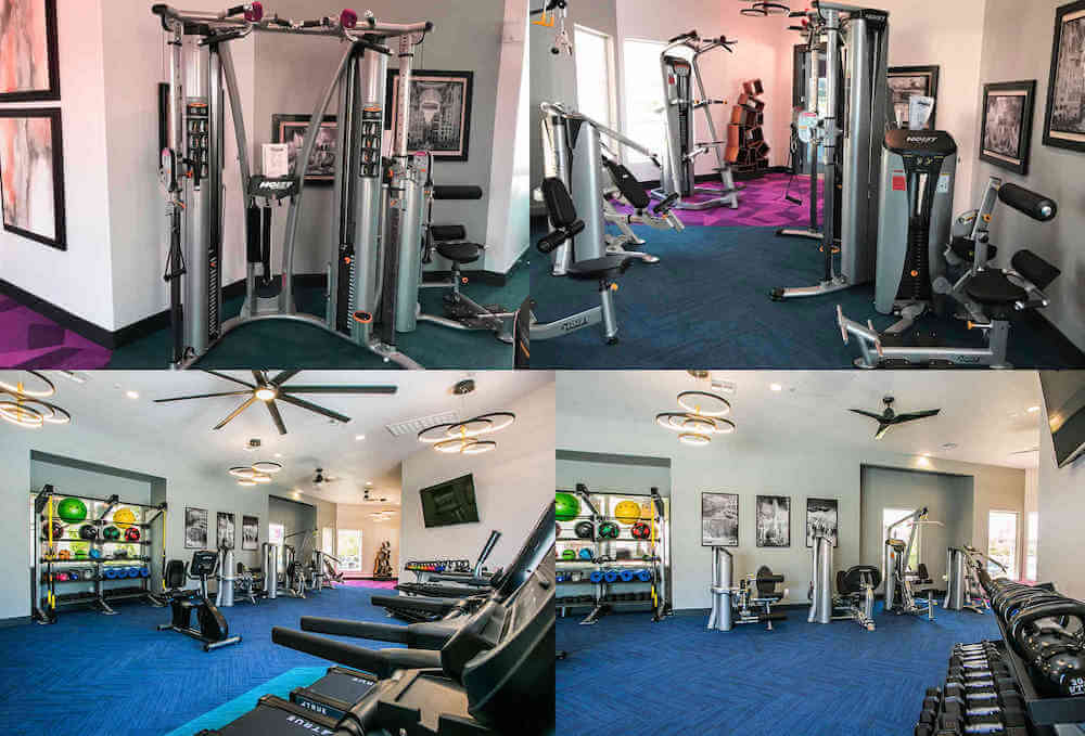 4 photos combined into one showing various weight and fitness equipment
