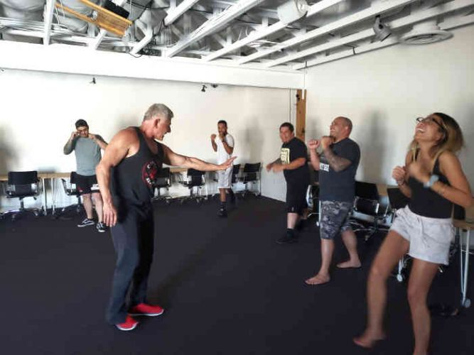corporate wellness program teaching martial arts exercises and having fun laughing while doing it