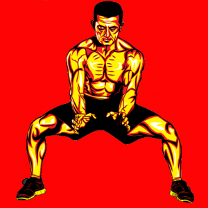 man standing in martial art horse stance with hands down in front of his body